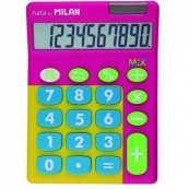 MILAN MIX CALCULATOR PINK 10 DIGITS - DUAL POWER SUPPLY SOLAR CELL - 1.5V PILES - Inside-Pc